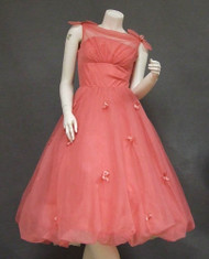 WONDERFUL Coral Chiffon Cocktail Dress w/ Balloon Hem