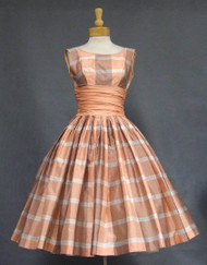 Terrific Peach Plaid 1950's Party Dress