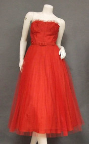 Red Tulle 1950's Prom Dress w/ Pleated Skirt