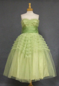 Wonderful Sea Green Ruffled Tulle & Organdy 1950's Prom Dress