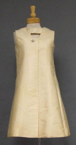Cream Silk Shantung 1960's Cocktail Dress w/ Keyhole