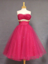 Striking Cerise Tulle 1950's Prom Dress w/ Lace & Rhinestones