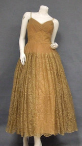 UNBELIEVABLE Tan Lace & Tulle 1950's Evening Dress