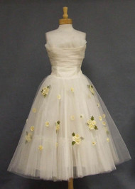 Romantic Ivory Tulle 1950's Strapless Dress w/ Floral Appliqued Skirt