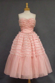 Ruffled Pink & White Chiffon & Lace Strapless Prom Dress