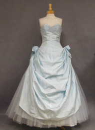 Ice Blue Taffeta 1950's Ball Gown w/ Sequin Dotted Tulle