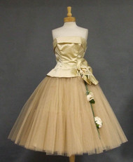 Gorgeous Cream Satin & Beige Tulle 1950's Cocktail Dress w/ Floral Applique
