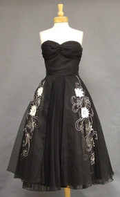 Striking Black Marquisette 1950's Cocktail Dress w/ White Cord Trim