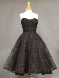 Glitter Topped Flocked Black Tulle 1950's Cocktail Dress