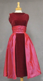 KNOCKOUT Crimson Velveteen & Magenta Taffeta Cocktail Dress