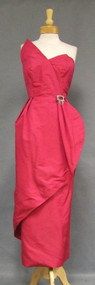 AMAZING Fuchsia Silk Strapless Asymmetrical Evening Gown