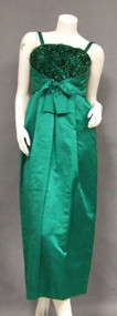 FABULOUS Bob Bugnand Emerald Satin Evening Dress w/ Bead Fringe