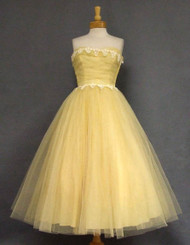 Will Steinman Lemon Tulle 1950's Prom Dress w/ Appliques