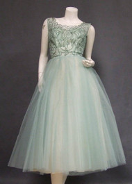AMAZING Aqua Tulle 1950's Cocktail Dress w/ Beaded Bodice