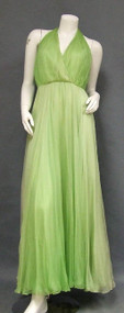 Backless Green Ombre Chiffon Oscar de la Renta Evening Gown