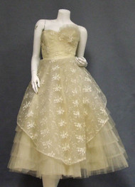 Embroidered Cream Tulle 1950's Wedding Dress w/ Cropped Jacket
