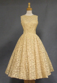 David Hart Ecru Lace 1950's Cocktail Dress