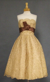 Beautiful Tan Lace 1950's Cocktail Dress w/ Sepia Satin