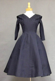 Harvey Berin Navy Faille Cocktail Dress w/ Lovely Skirt
