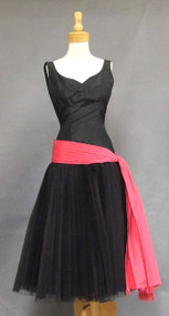 STUNNING Rudolf Black Silk Taffeta Cocktail Dress w/ Pleated Tulle