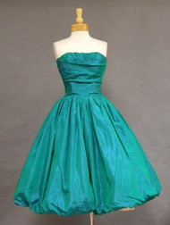AWESOME Iridescent Green Taffeta 1950's Cocktail Dress w/ Balloon Hem