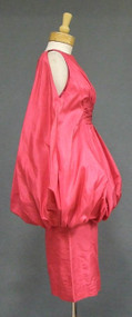 SPECTACULAR Cerise Silk Taffeta 1960's Bubble Cocktail Dress