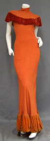 KNOCKOUT Pumpkin Crepe 1930's Bias Gown w/ Gathered Velvet
