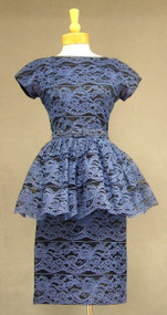 Black & Blue Lace Bombshell Cocktail Dress w/ Peplum