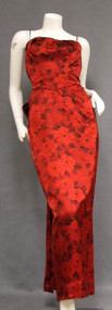 BOMBSHELL Black & Red Satin 1950's Evening Gown w/ Train