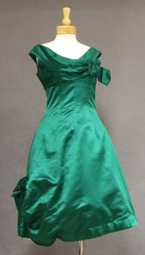 Asymmetrical Harvey Berin Emerald Satin Cocktail Dress