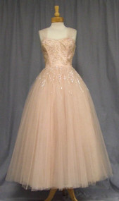 Extraordinary Pale Pink Tulle 1950's Ball Gown w/ Sequins