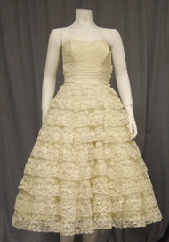 BEAUTIFUL Ivory Lace Strapless 1950's Cocktail Dress