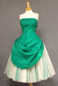 AMAZING Emerald Taffeta & White Tulle Strapless 1950's Cocktail Dress