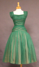 SUPER Green Chiffon 1950's Cocktail Dress w/ Gathers