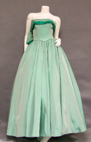 EXQUISITE Two Toned Taffeta Strapless 1950's Ball Gown