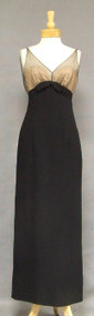 Gorgeous Black Crepe Evening Gown w/ Illusion Bodice