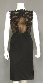 GORGEOUS 1960's Cocktail Dress w/ Appliqued Bodice