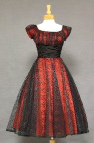 FAB Red & Black Lace 1950's Cocktail Dress