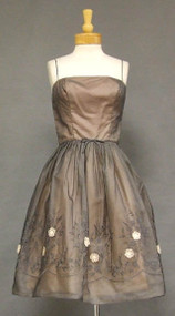 Terrific Floral Appliqued Charcoal Chiffon 1950's Cocktail Dress w/ Swing Coat
