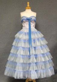 Two Toned Blue Tulle Strapless 1950's Prom Dress