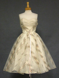 SUPERB Ivory Tulle 1950's Dress w/ Metallic Embroidery & Pink Ribbon