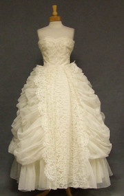 STUNNING Ivory Lace & Draped Chiffon Strapless Vintage Wedding Gown