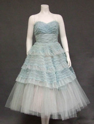 Beautiful Blue Ruffled Chiffon & Tulle Strapless Vintage Prom Dress