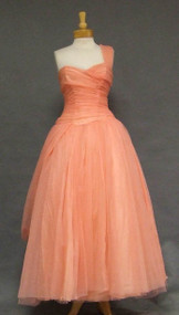Floating Salmon Chiffon Vintage Ball Gown w/ Unique Drape