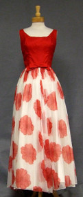 Striking Red & White 1960's Evening Gown
