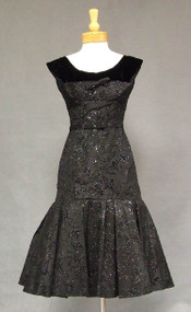 BOMBSHELL Flocked Taffeta & Velvet 1950's Wiggle Dress w/ Mermaid Hem