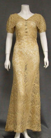 Ecru Lace 1930's Evening Gown w/ Low Back