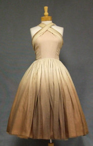 OUTSTANDING Ombre Chiffon 1950's Halter Dress w/ Trailing Scarves