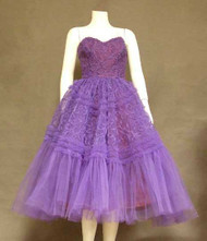 AMAZING Appliqued Violet Tulle 1950's Prom Dress