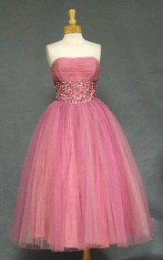 Fred Perlberg Strawberry & Cream 1950's Prom Dress w/ Sequins